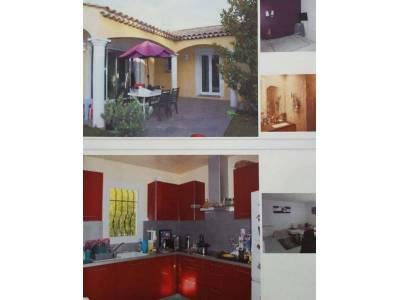 Terrasse + cuisine + salon + vasque + chambre